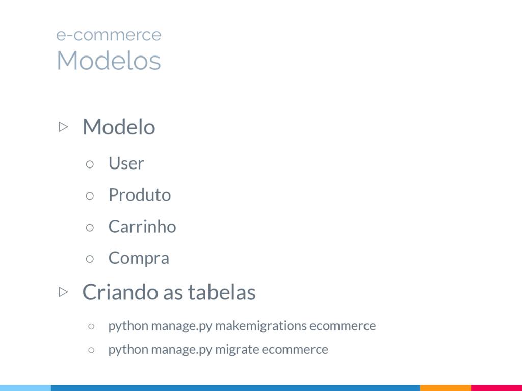 ▷ Modelo ○ User ○ Produto ○ Carrinho ○ Compra ▷...