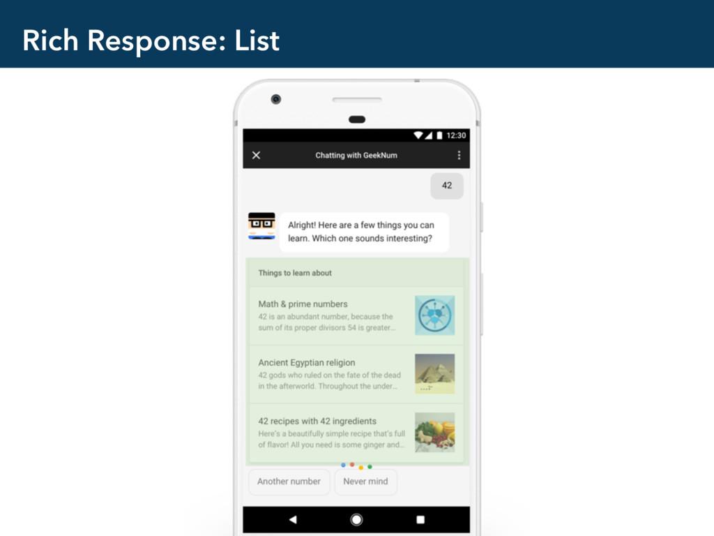 Rich Response: List