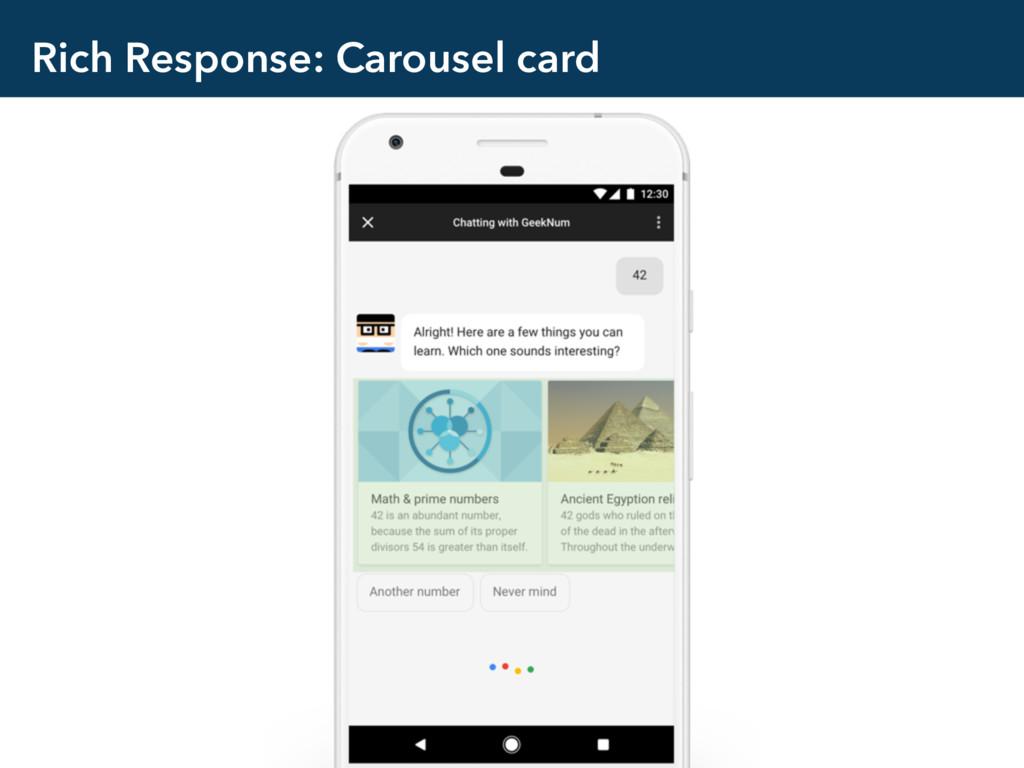 Rich Response: Carousel card