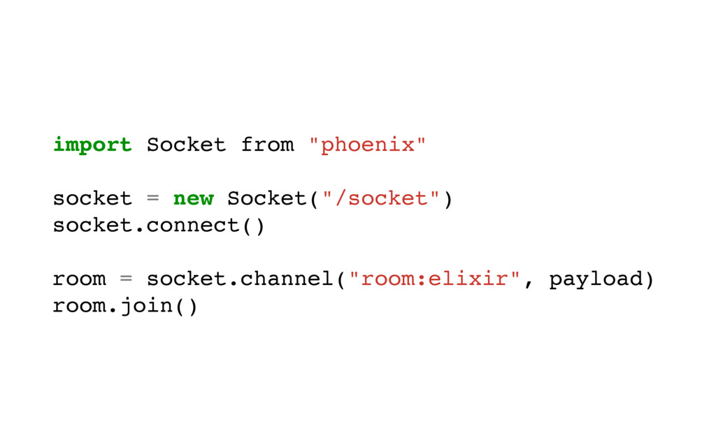 "import Socket from ""phoenix"" socket = new Socke..."