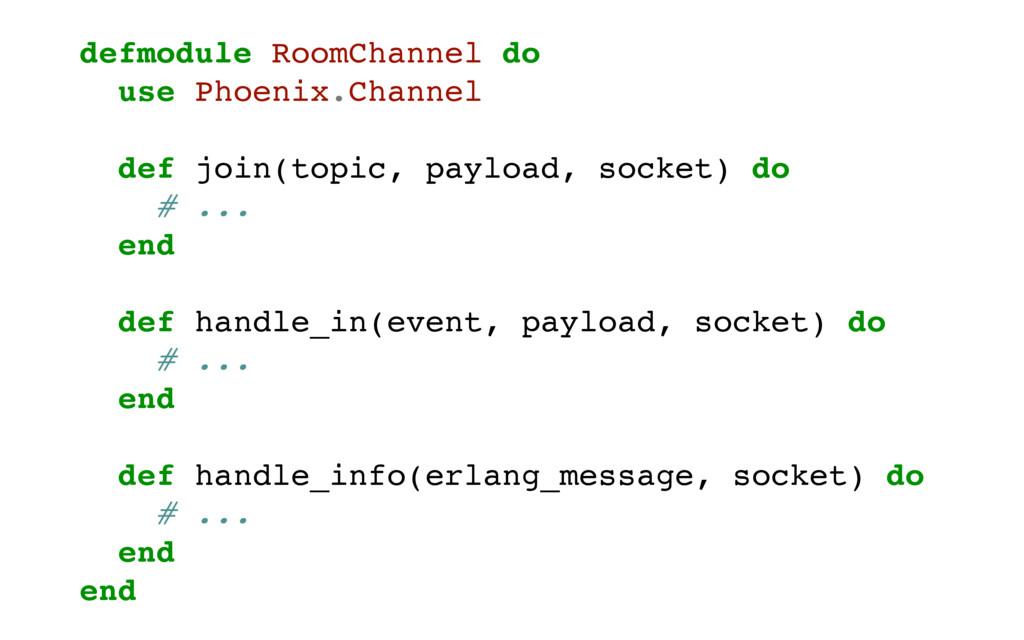 defmodule RoomChannel do use Phoenix.Channel de...