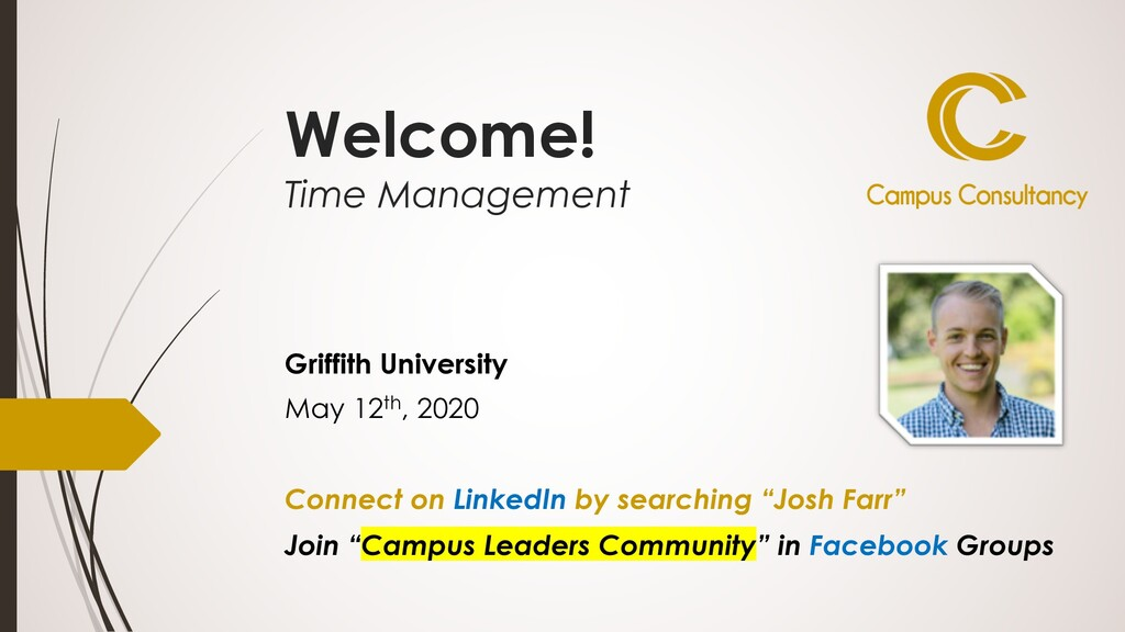 Welcome! Time Management Griffith University Ma...
