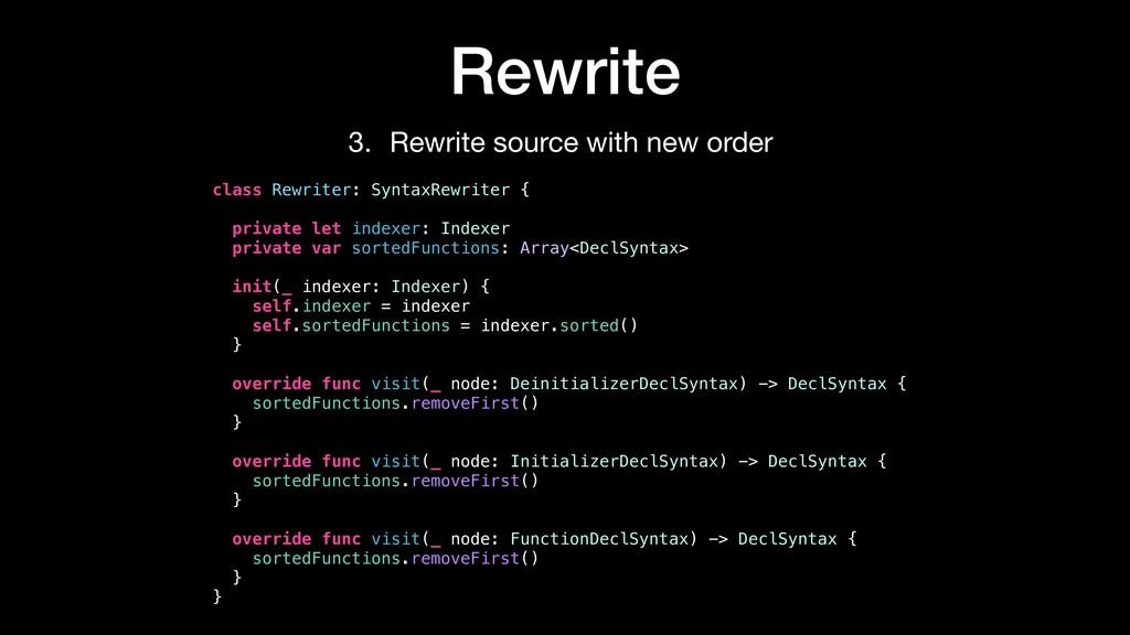 Rewrite class Rewriter: SyntaxRewriter { privat...