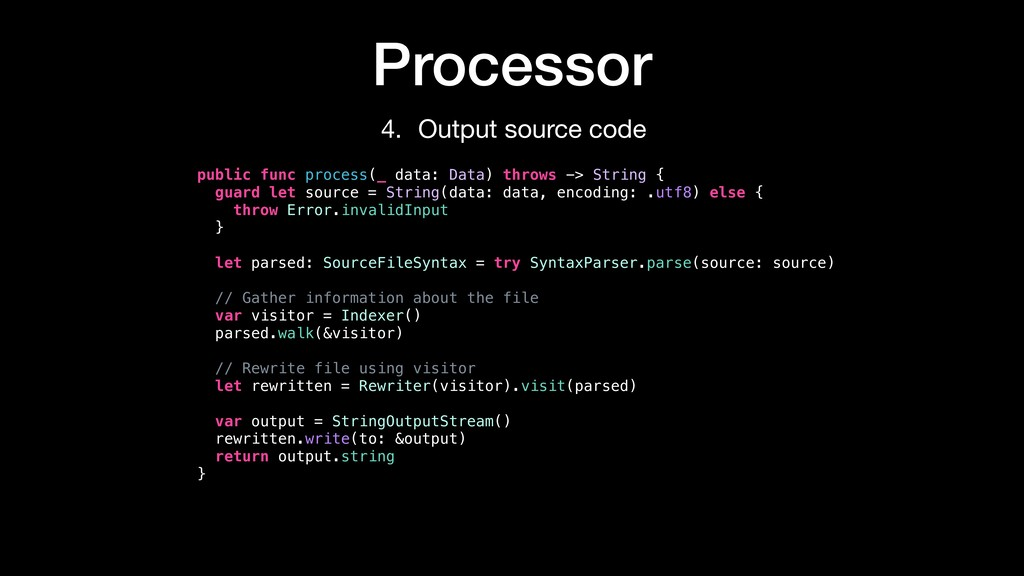 public func process(_ data: Data) throws -> Str...