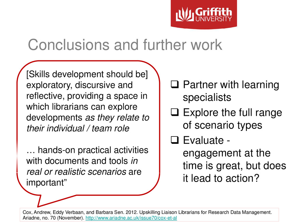 Conclusions and further work  Partner with lea...