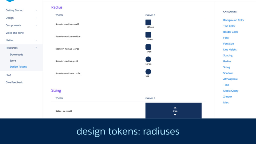 design tokens: radiuses