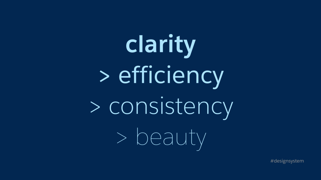 clarity > efficiency > consistency > beauty #de...