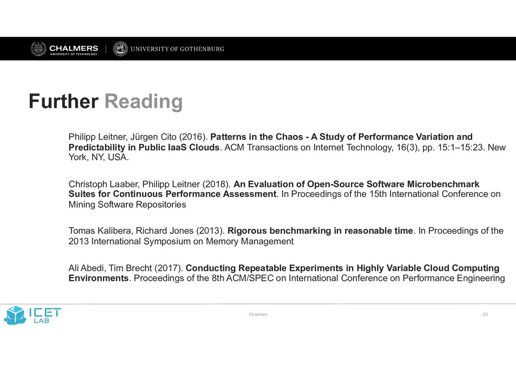 Chalmers !20 Further Reading Philipp Leitner, J...