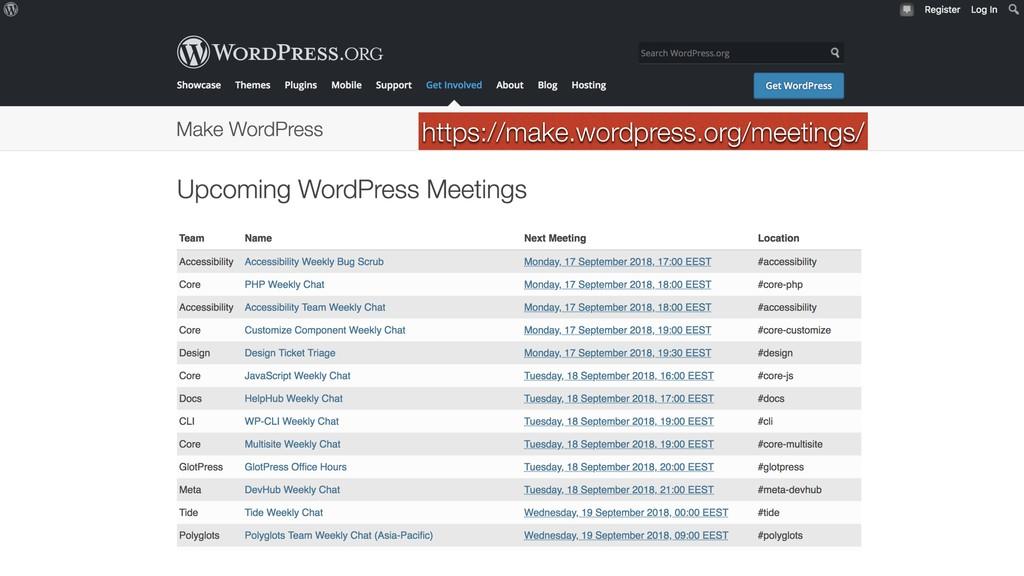 https://make.wordpress.org/meetings/