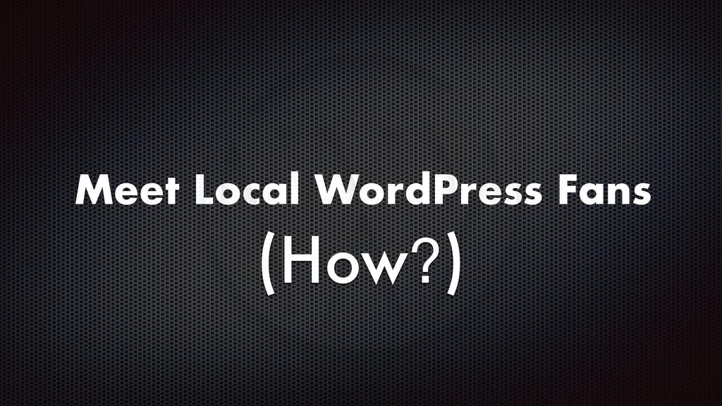 Meet Local WordPress Fans (How?)