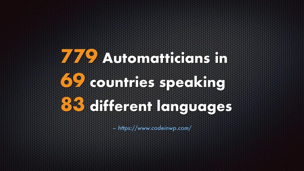 – https://www.codeinwp.com/ 779 Automatticians ...