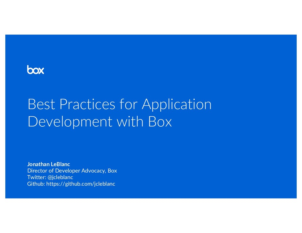 Best Practices for Application Development with...
