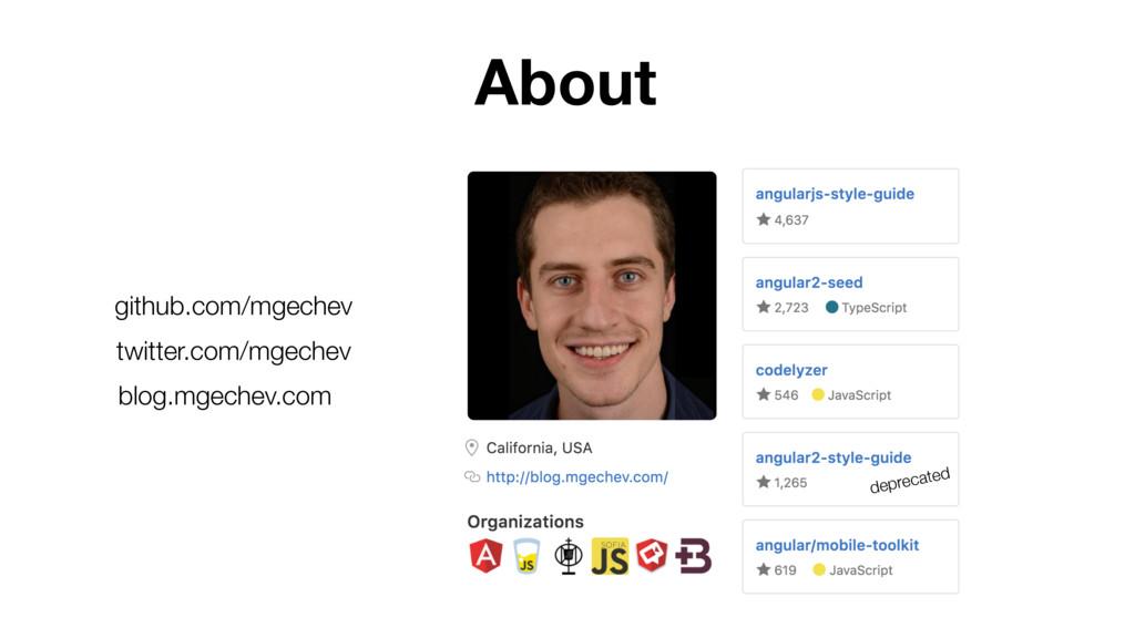 github.com/mgechev twitter.com/mgechev blog.mge...