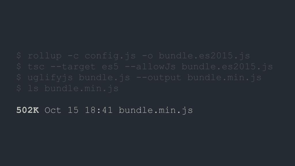 $ rollup -c config.js -o bundle.es2015.js $ tsc...