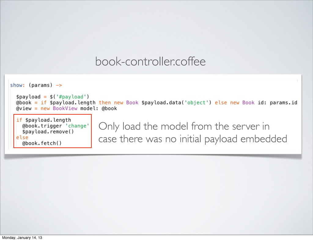book-controller.coffee Only load the model from...