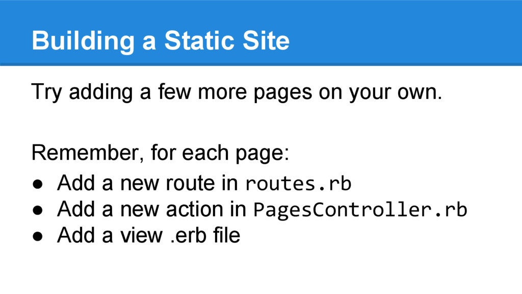 Building a Static Site Try adding a few more pa...