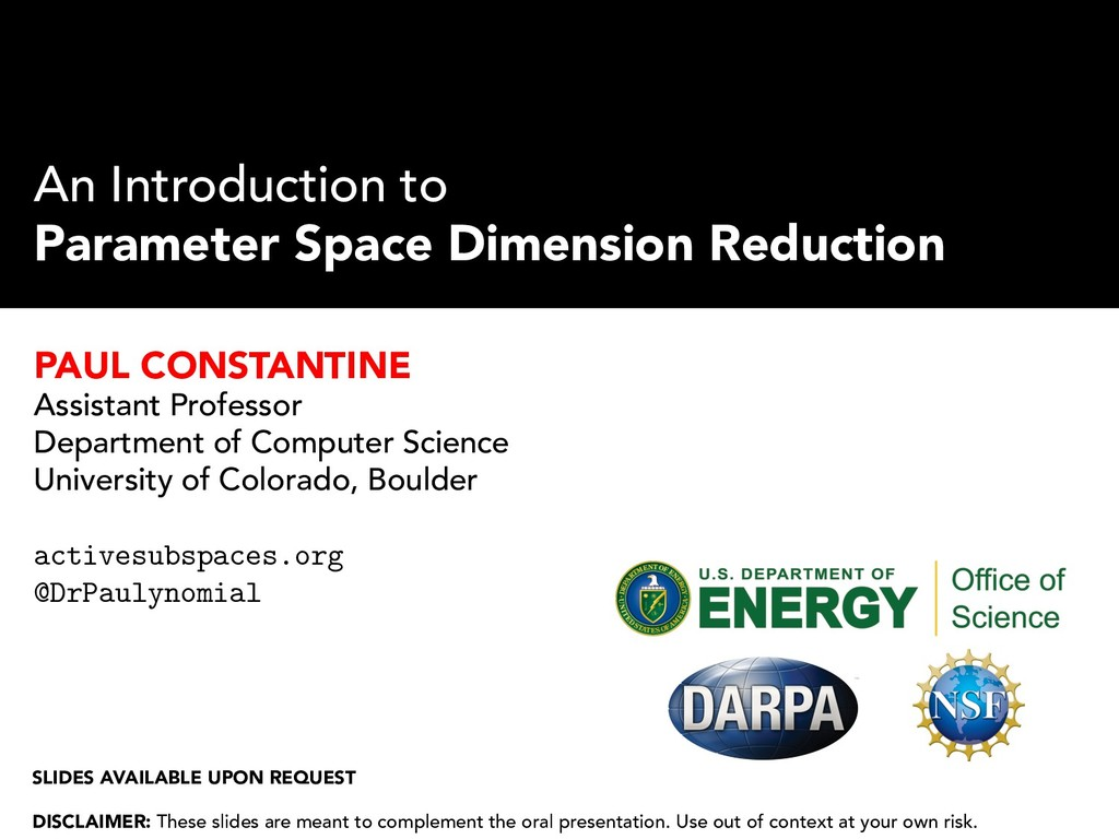 An Introduction to Parameter Space Dimension Re...