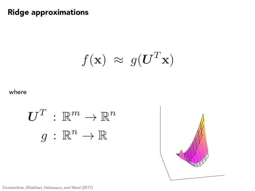 f( x ) ⇡ g(UT x ) Ridge approximations UT : Rm ...