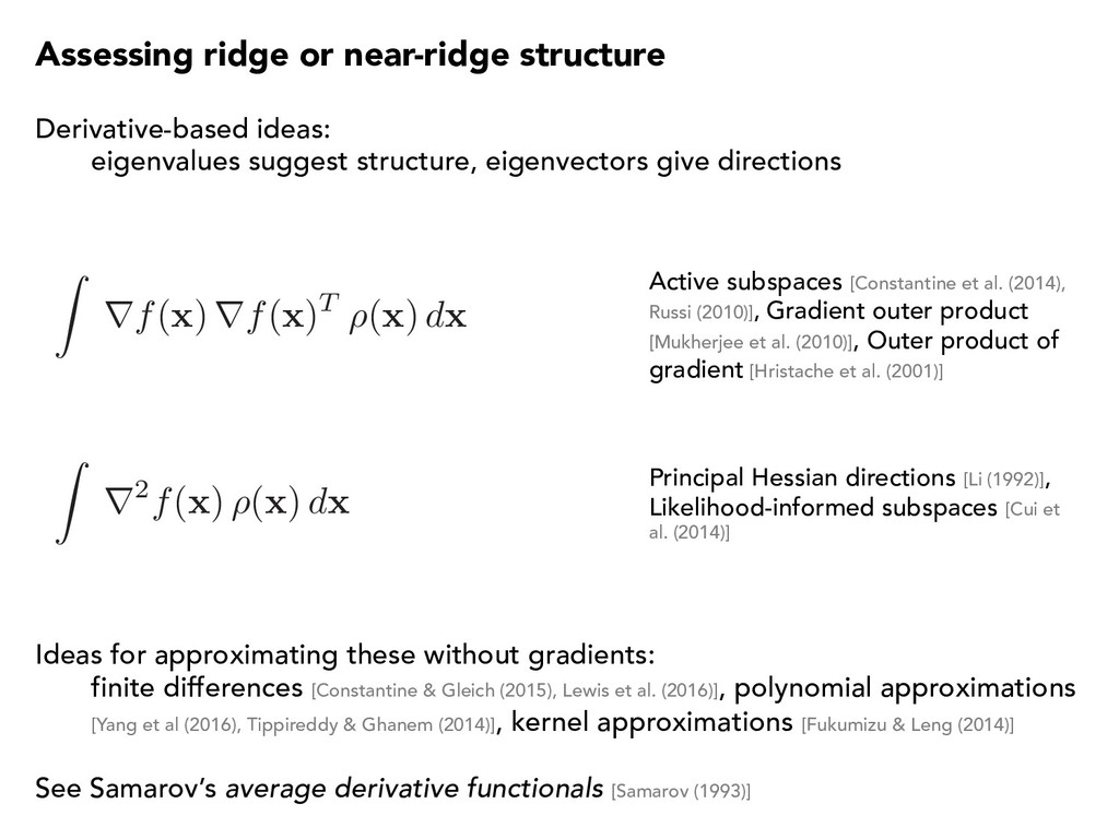 Assessing ridge or near-ridge structure Z rf( x...