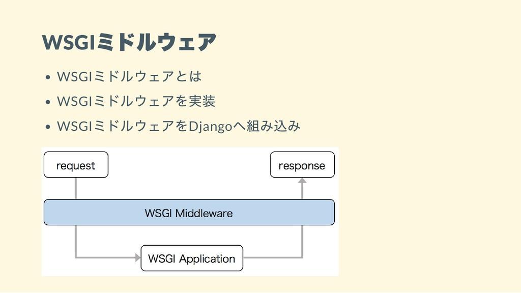 WSGI ミドルウェア WSGI ミドルウェアとは WSGI ミドルウェアを実装 WSGI ミ...