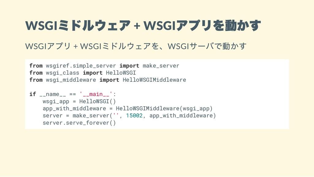 WSGI ミドルウェア + WSGI アプリを動かす WSGI アプリ + WSGI ミドルウ...