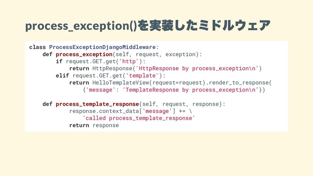 process_exception() を実装したミドルウェア class ProcessEx...