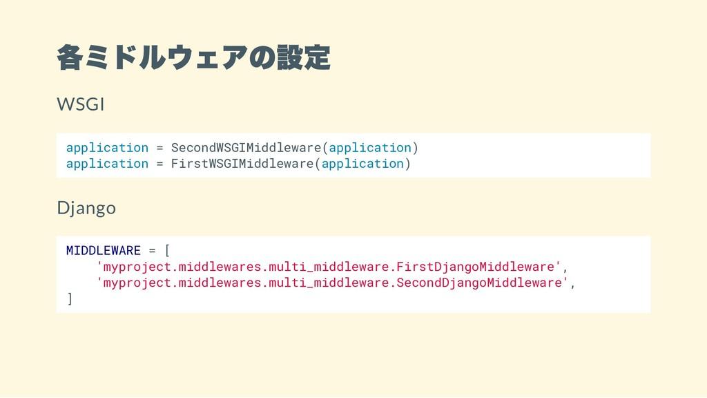 各ミドルウェアの設定 WSGI application = SecondWSGIMiddlew...