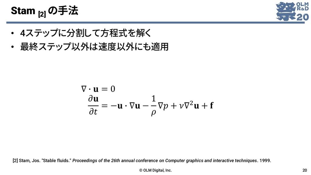 Stam [2] の手法 • 4ステップに分割して方程式を解く • 最終ステップ以外は速度以外...