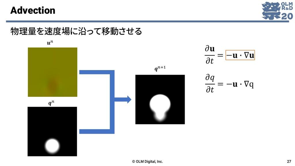 Advection 物理量を速度場に沿って移動させる © OLM Digital, Inc. ...
