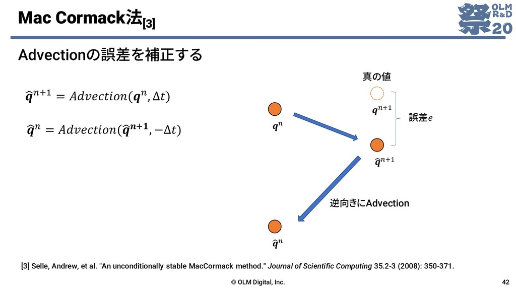 Mac Cormack法 [3] Advectionの誤差を補正する © OLM Digita...