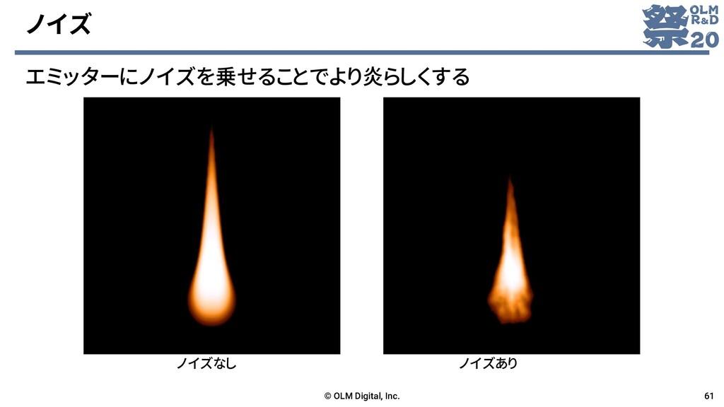 ノイズ エミッターにノイズを乗せることでより炎らしくする © OLM Digital, Inc...