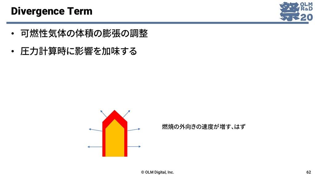 Divergence Term • 可燃性気体の体積の膨張の調整 © OLM Digital,...