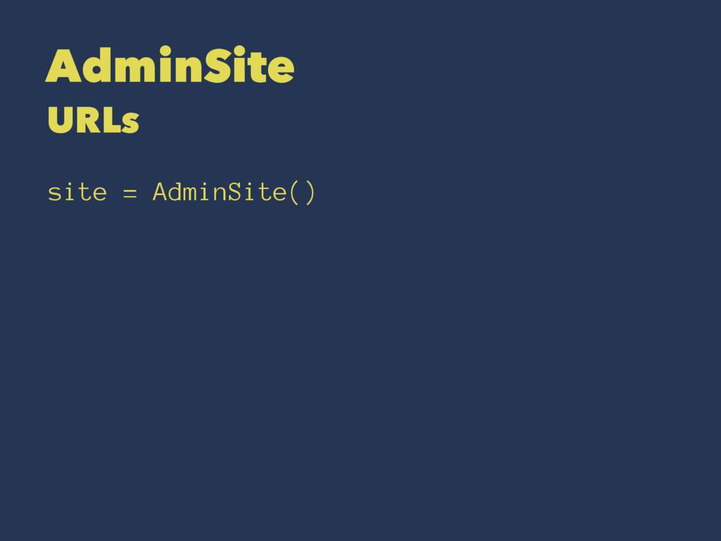 AdminSite URLs site = AdminSite()