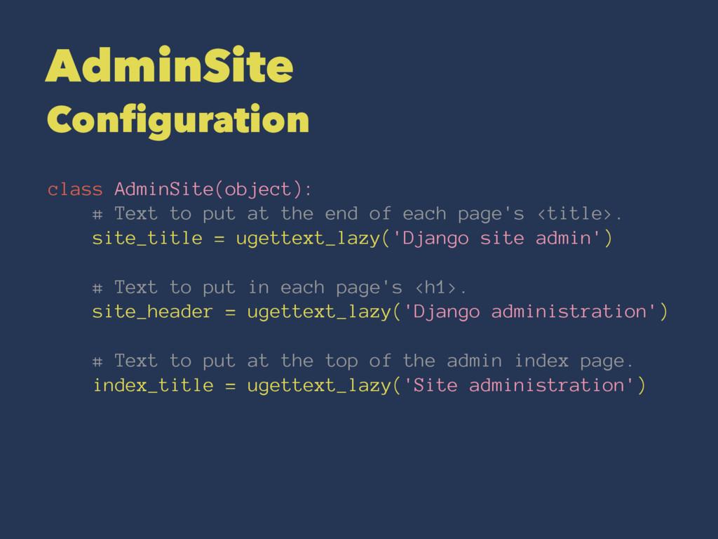 AdminSite Configuration class AdminSite(object)...