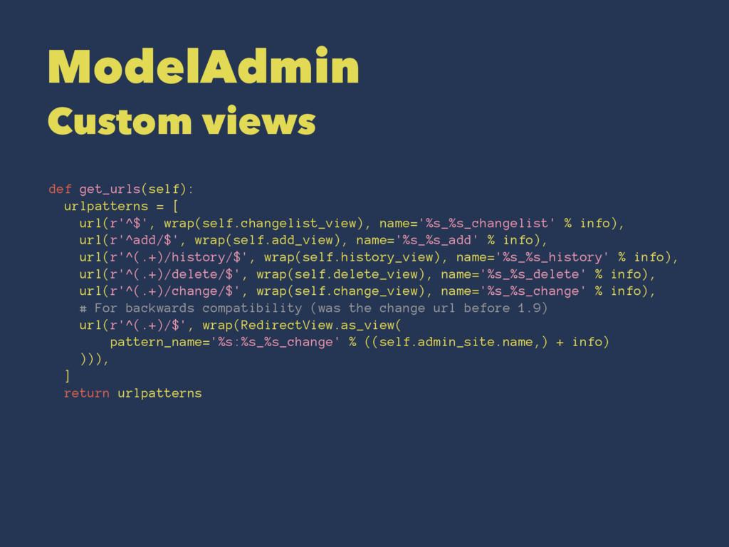 ModelAdmin Custom views def get_urls(self): url...