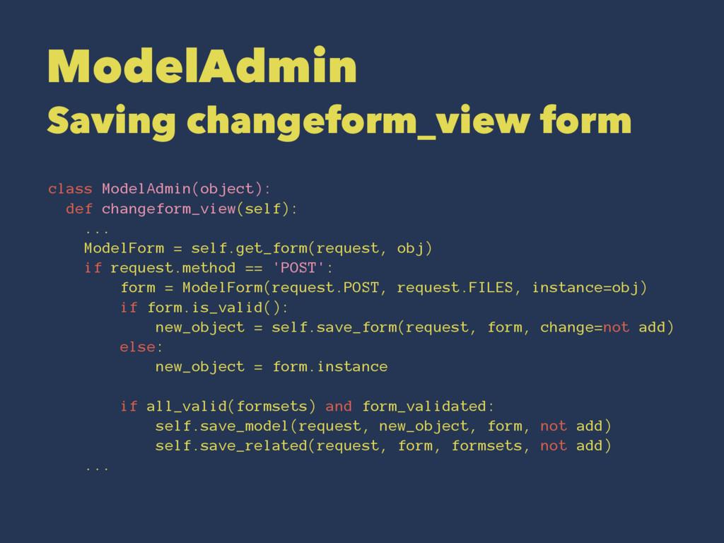 ModelAdmin Saving changeform_view form class Mo...