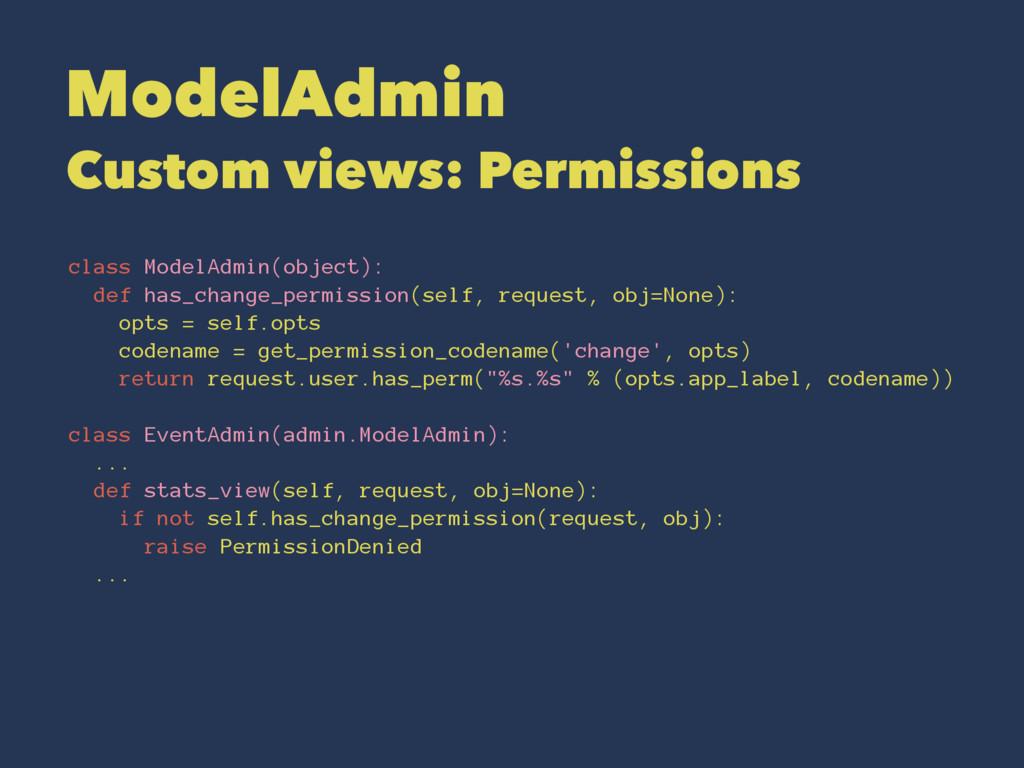ModelAdmin Custom views: Permissions class Mode...