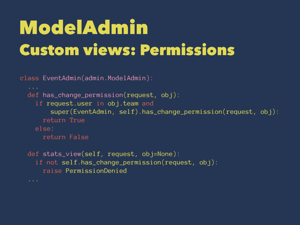 ModelAdmin Custom views: Permissions class Even...