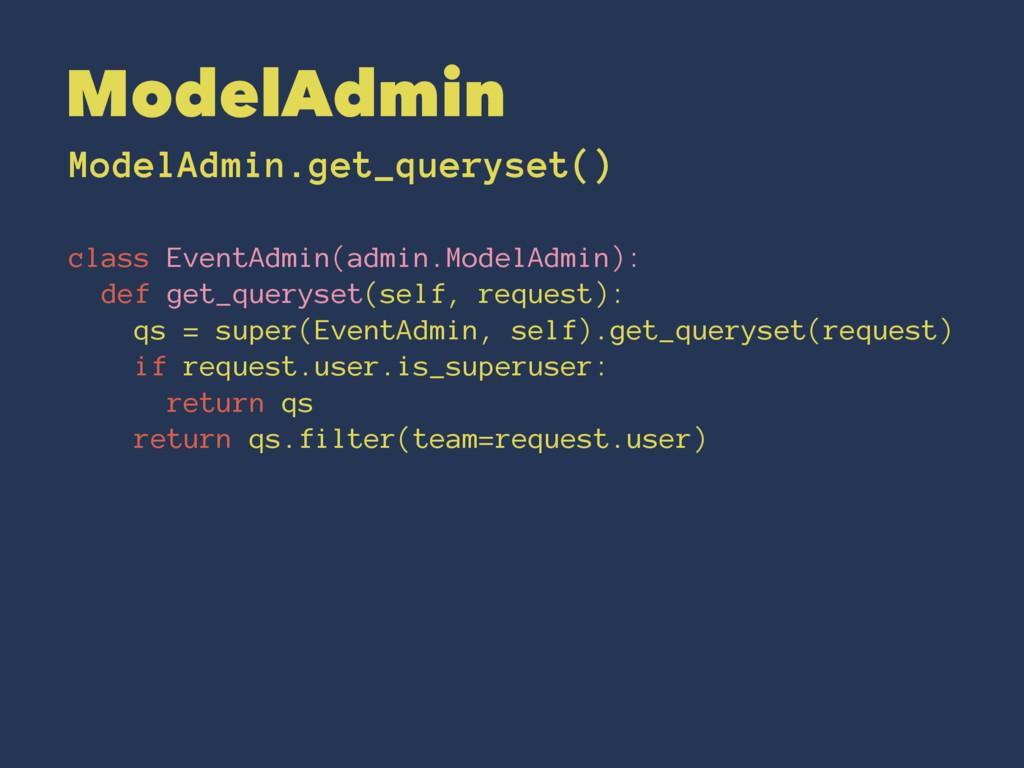 ModelAdmin ModelAdmin.get_queryset() class Even...