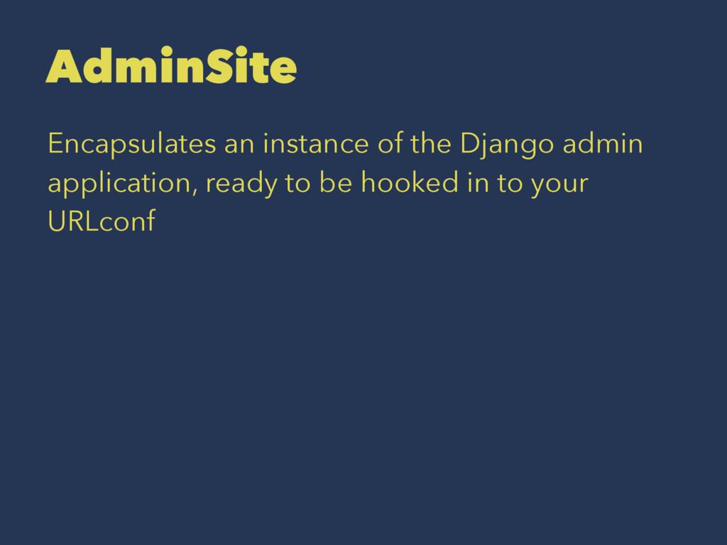 AdminSite Encapsulates an instance of the Djang...