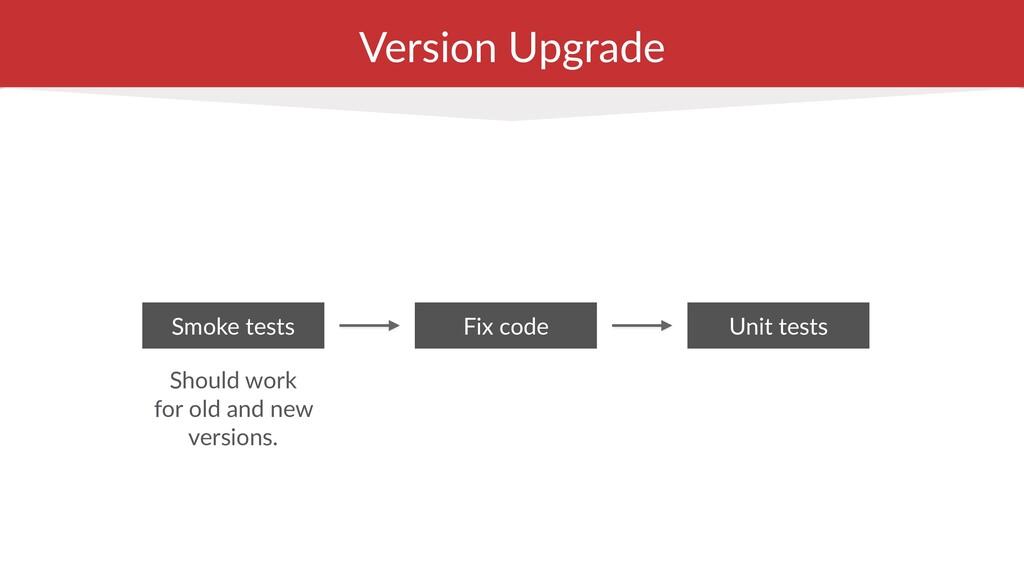 Version Upgrade Smoke tests Fix code Should wor...