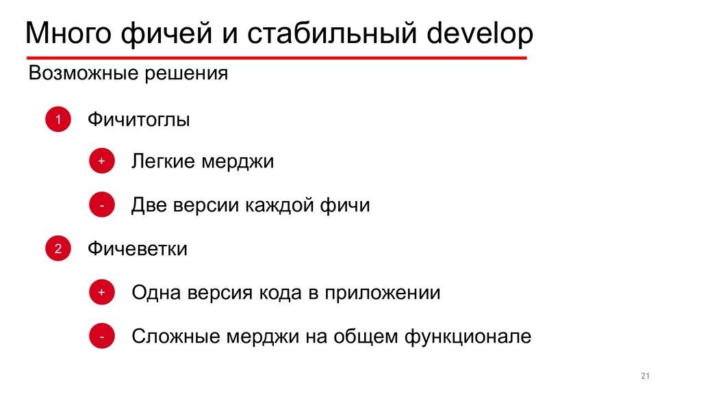 Много фичей и стабильный develop 21 Возможные р...