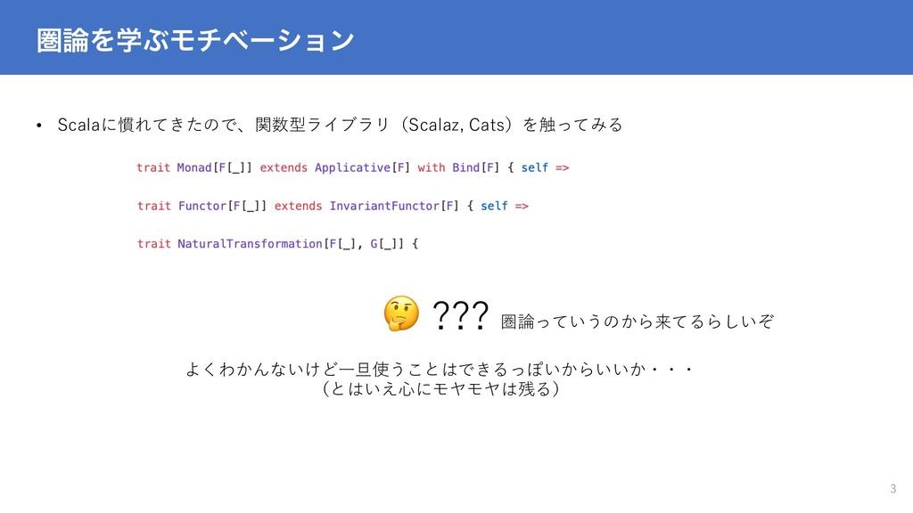 ݍΛֶͿϞνϕʔγϣϯ 3 • Scalaに慣れてきたので、関数型ライブラリ(Scalaz,...