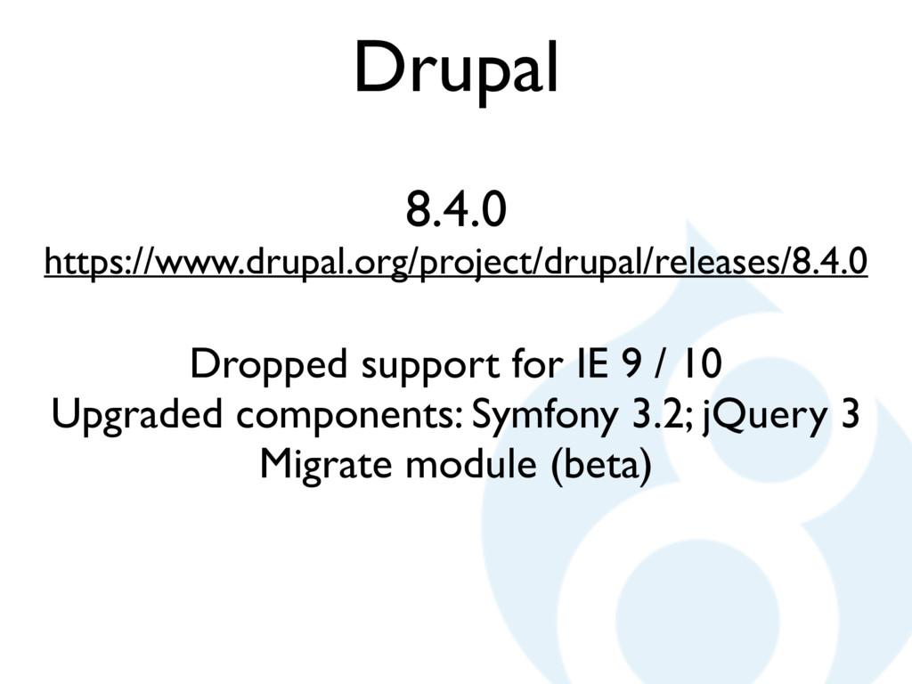 Drupal 8.4.0 https://www.drupal.org/project/dru...