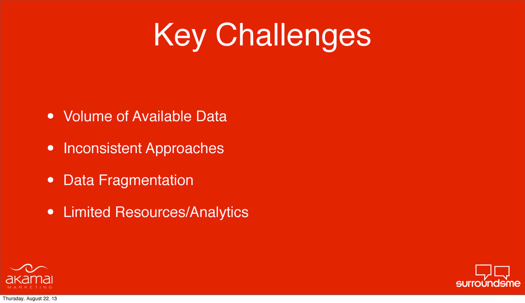 Key Challenges • Volume of Available Data • Inc...