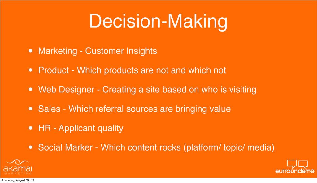 Decision-Making • Marketing - Customer Insights...