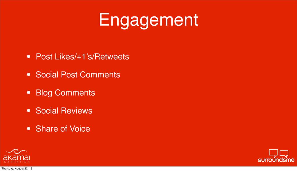 Engagement • Post Likes/+1's/Retweets • Social ...