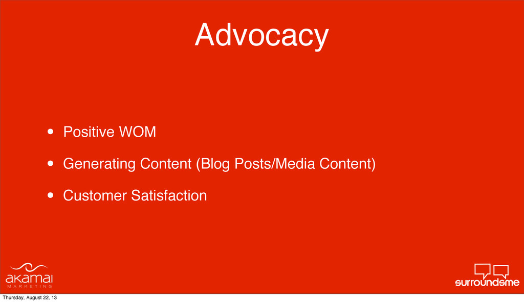 Advocacy • Positive WOM • Generating Content (B...
