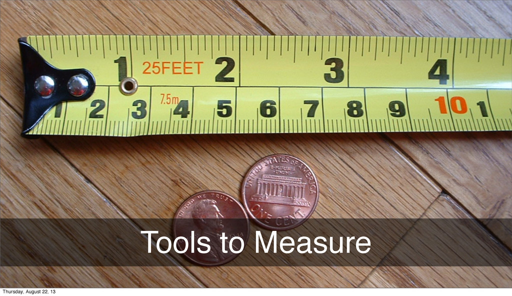 Tools to Measure Thursday, August 22, 13