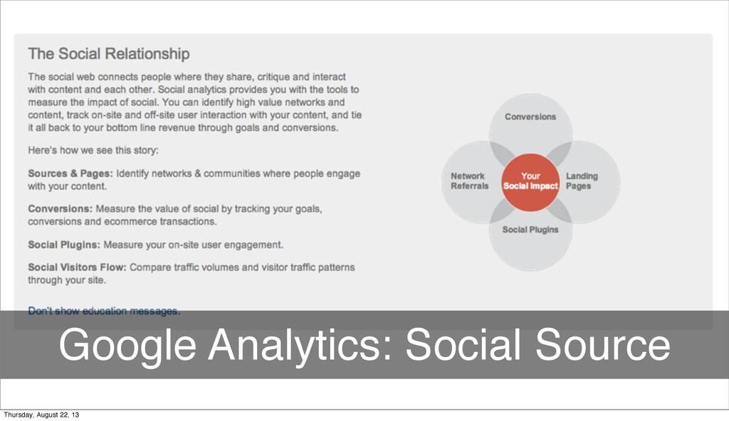 Google Analytics: Social Source Thursday, Augus...